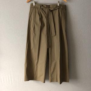 J. Crew Khaki Cropped Wide-Leg Pull-On Pants Sz 10